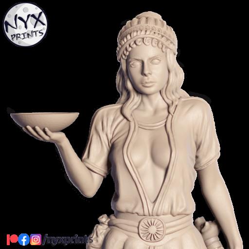 3d printing miniature of a sorceress.