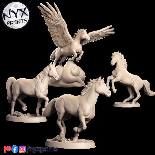 Pegasus and horses stl for 3d printing.