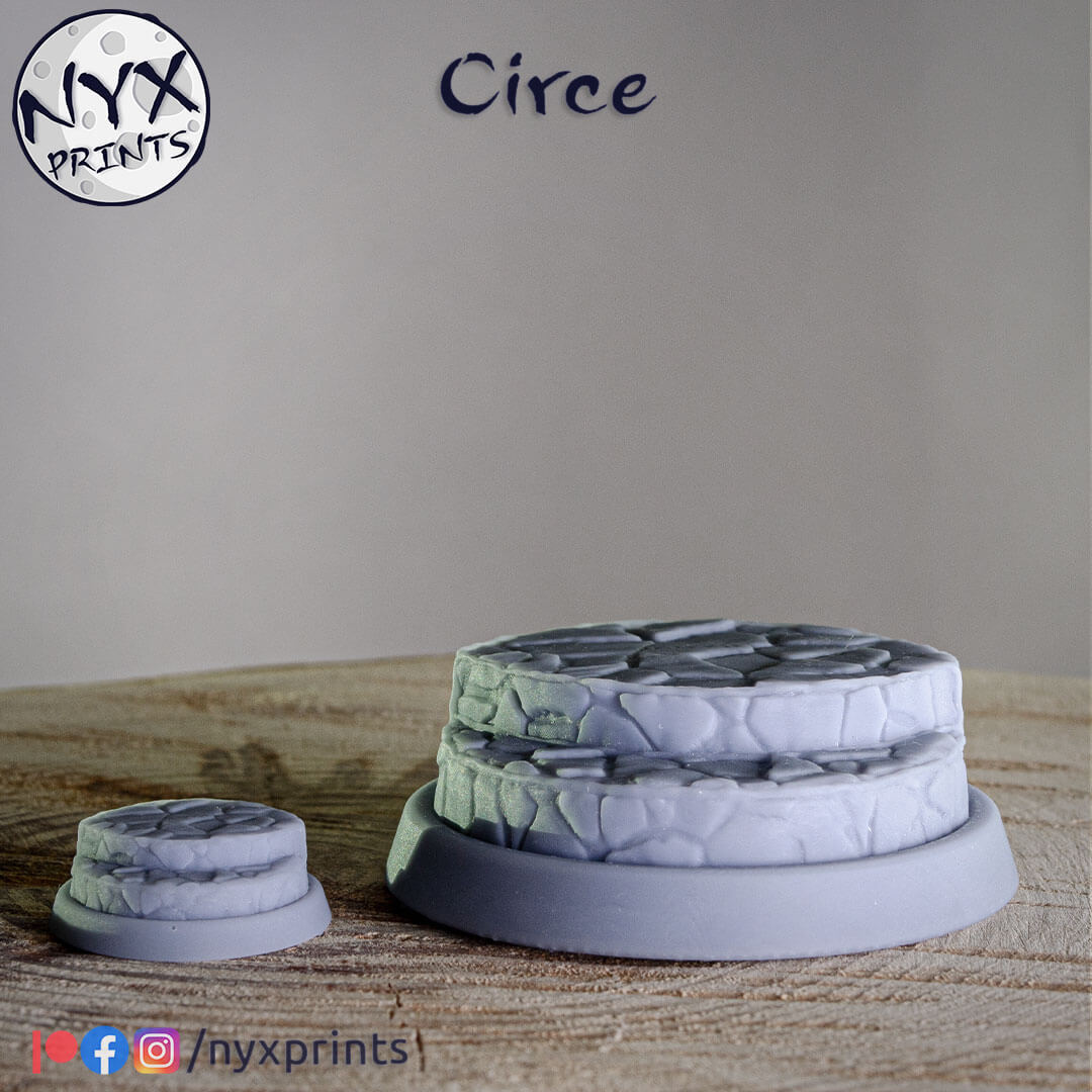 32mm and 75mm 3d printed bases for sorceress Circe