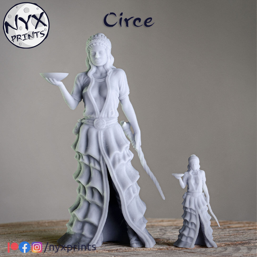 32mm and 75mm 3d printed miniature of a sorceress.